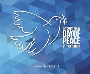 Ilustração de pomba dia da paz poligonal