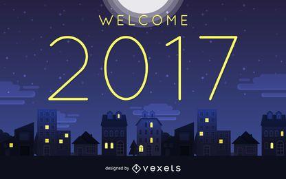 Bem-vindo sinal de noite de 2017
