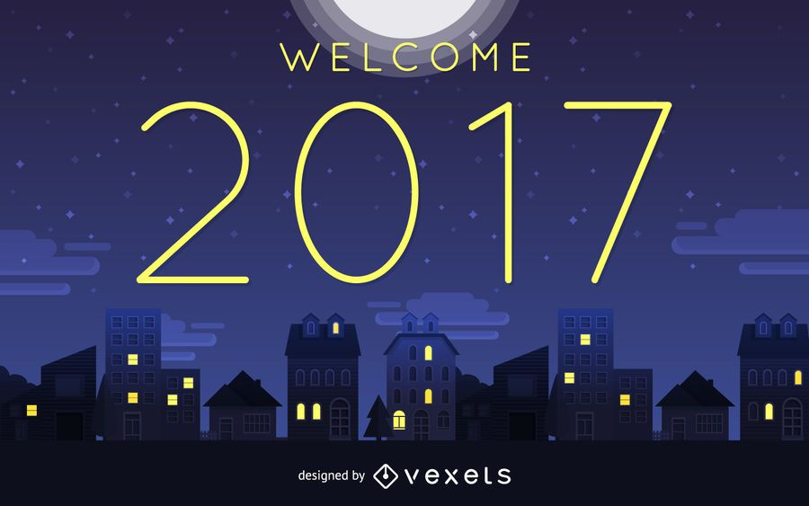 Welcome 2017 night sign