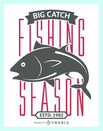 Fishing season vintage label