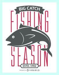Temporada de pesca etiqueta vintage.