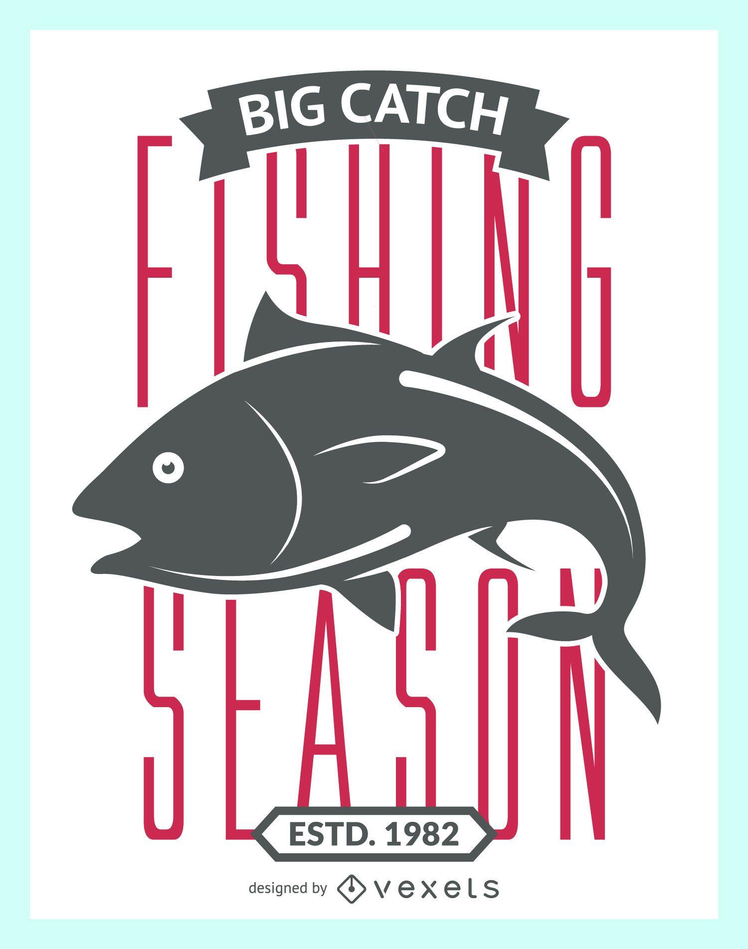 Etiqueta vintage de temporada de pesca