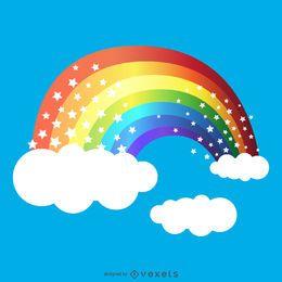Desenho de arco-íris com estrelas