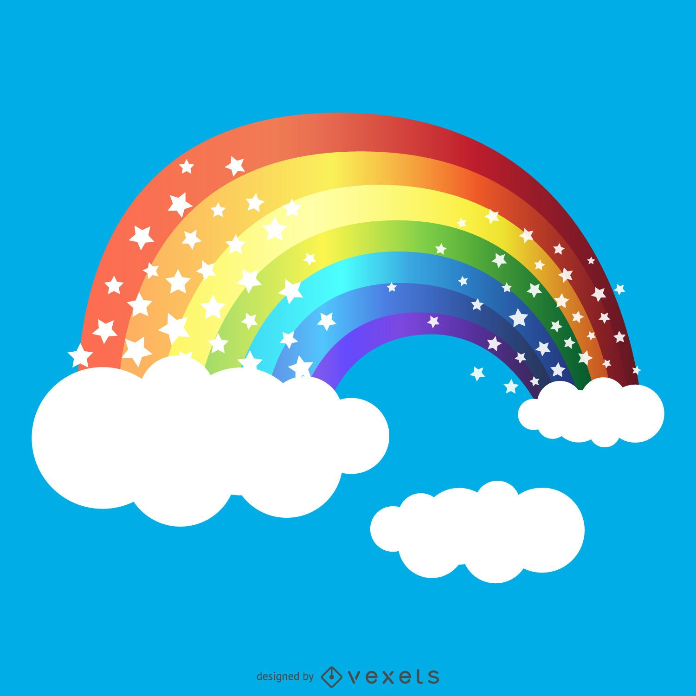 Rainbow drawing with stars