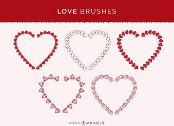 Set de pinceles de amor de Illustrator.