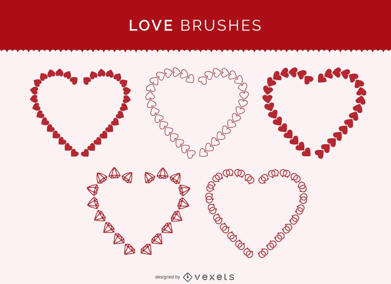 Conjunto de pinceles de amor de Illustrator