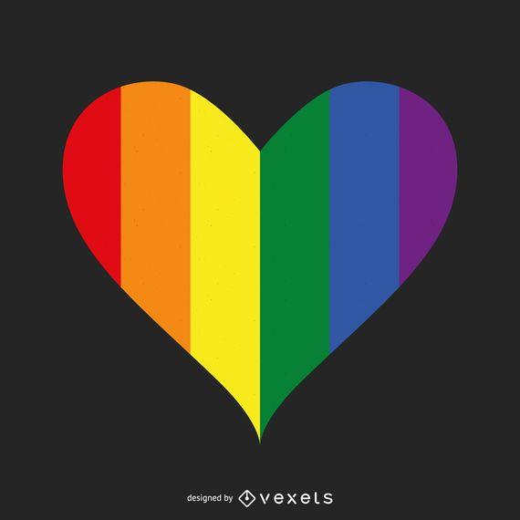 Modelo de logotipo de coração LGBT