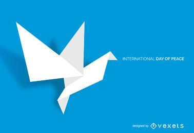 Cartel del día de la paz en origami