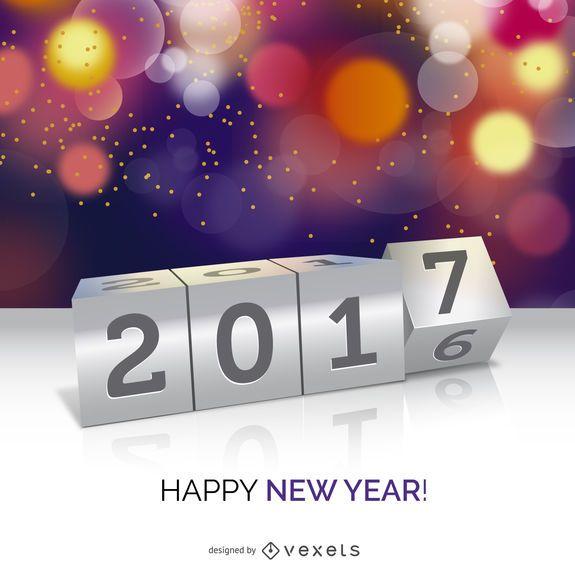 Cartel del concepto de año nuevo 2017