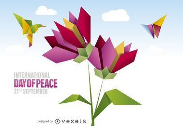 Colorful origami Peace Day poster