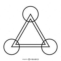 Desenho de triângulo em círculo