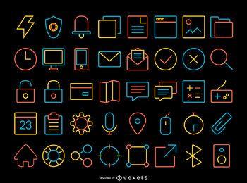 Conjunto de ícones de contato de traço fino