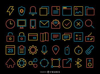 Thin stroke contact icons set