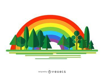 Ilustração da floresta sobre o arco-íris