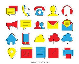 Conjunto de ícones de contato brilhante
