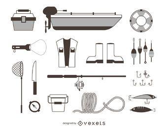 elementos de pesca iconos contorno