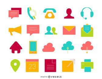 20 conjunto de iconos de contacto plano