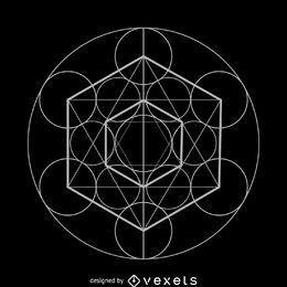 Diseño de geometría sagrada del cubo de Metatron