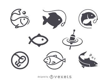 Fishing icon logo template