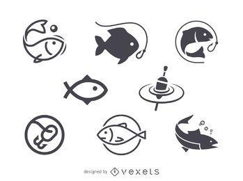 Pesca plantilla icono del logotipo