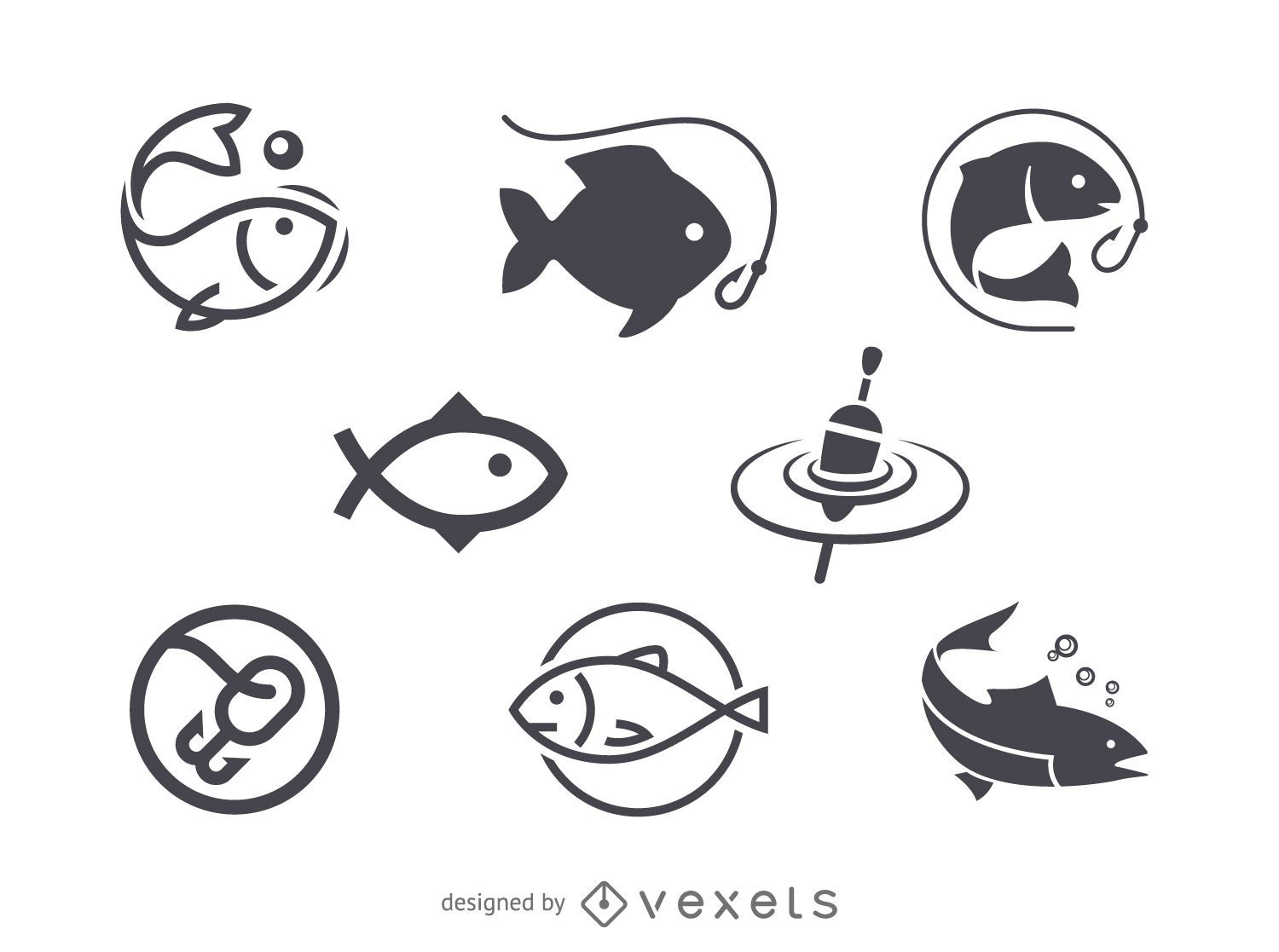Fishing icon logo template - Vector download