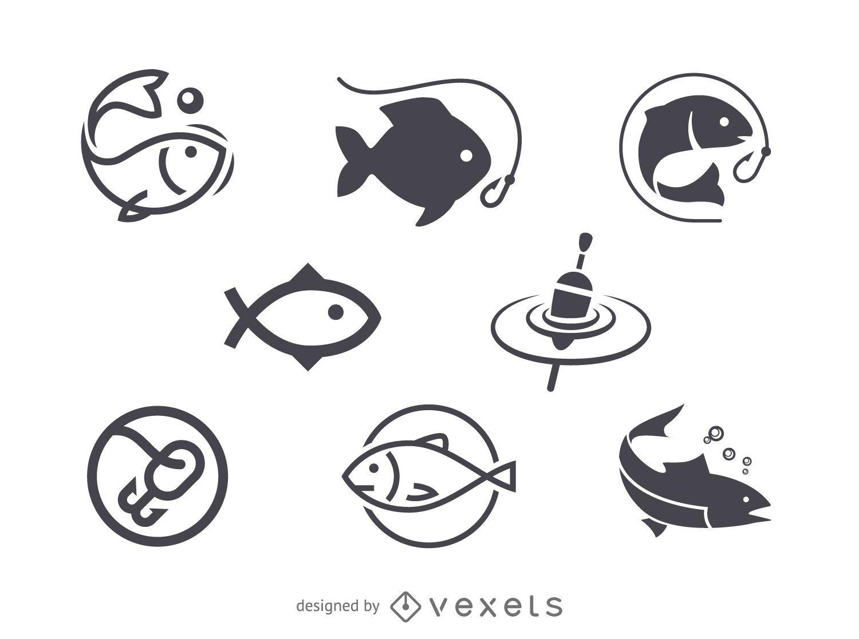 Modelo de logotipo de ícone de pesca