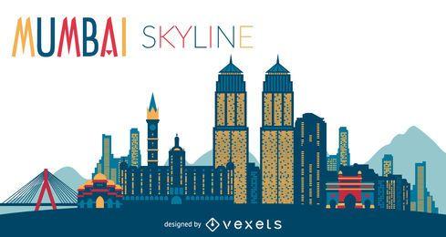 Mumbai skyline silhouette