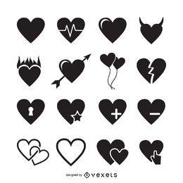 16 ícones do coração modelo de logotipo