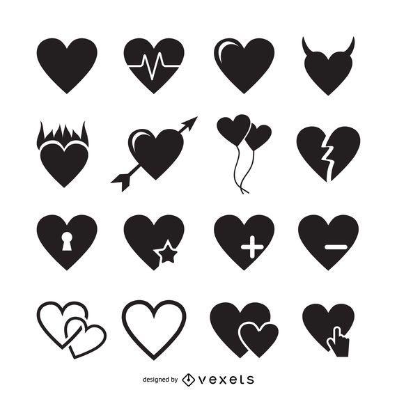 Plantilla de logotipo de 16 iconos de corazón