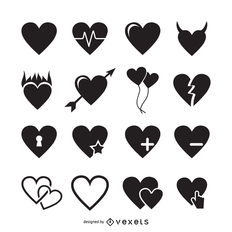 Modelo de logotipo de 16 ícones de coração