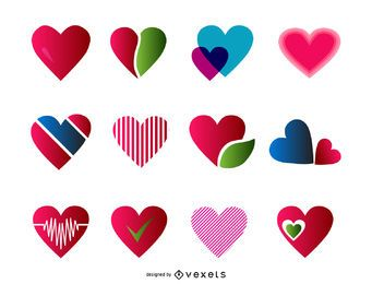 12 heart logo templates set