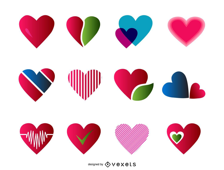 12 heart icon set