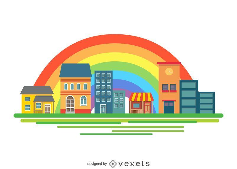 City buildings over rainbow