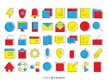 colección de iconos de contacto brillante