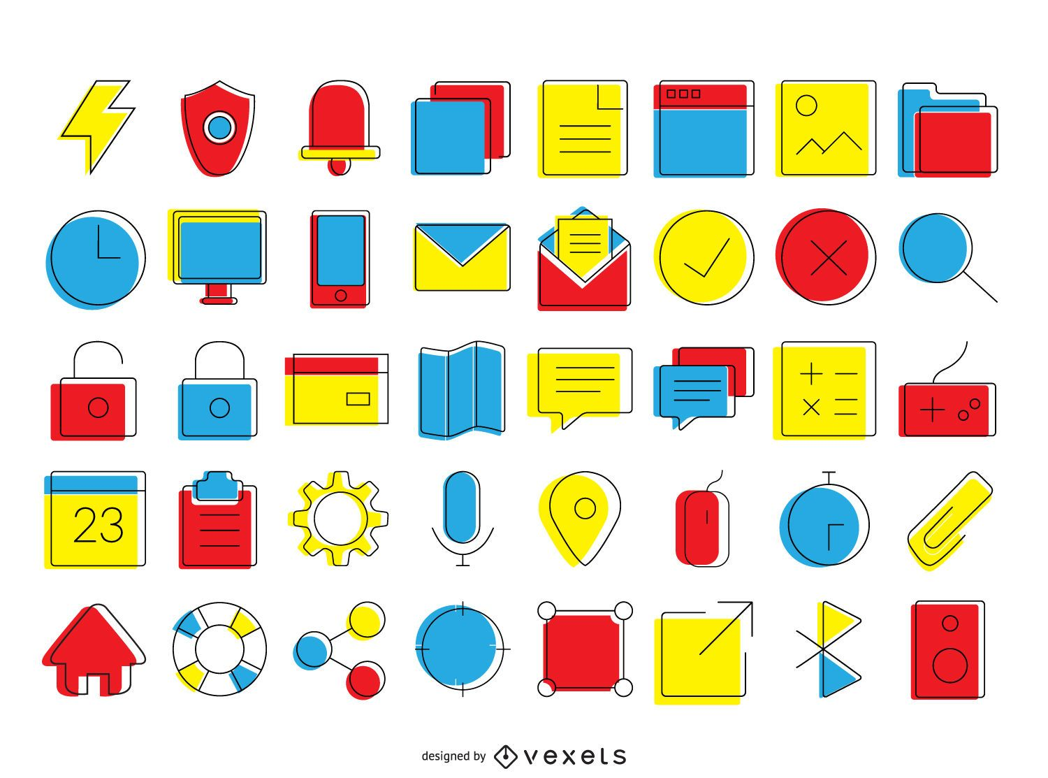 Bright contact icons collection