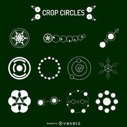 Conjunto de ilustración de círculos de cosecha