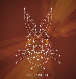 Ilustración de conejo con nodos