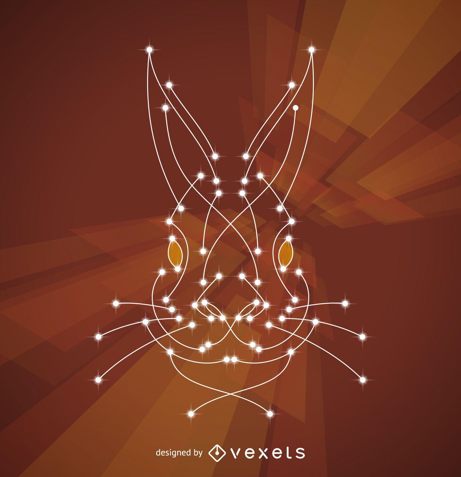 Ilustración de conejo con nodos.