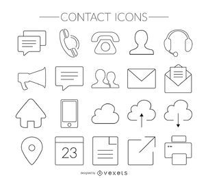 Conjunto de iconos de contacto de trazo