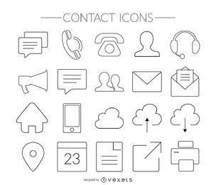 iconos de contacto de carrera ajustada