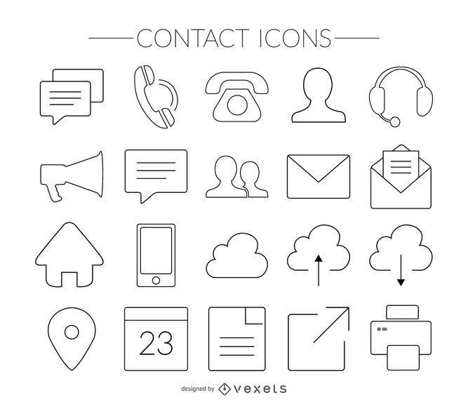 Conjunto de ícones de contato de acidente vascular cerebral