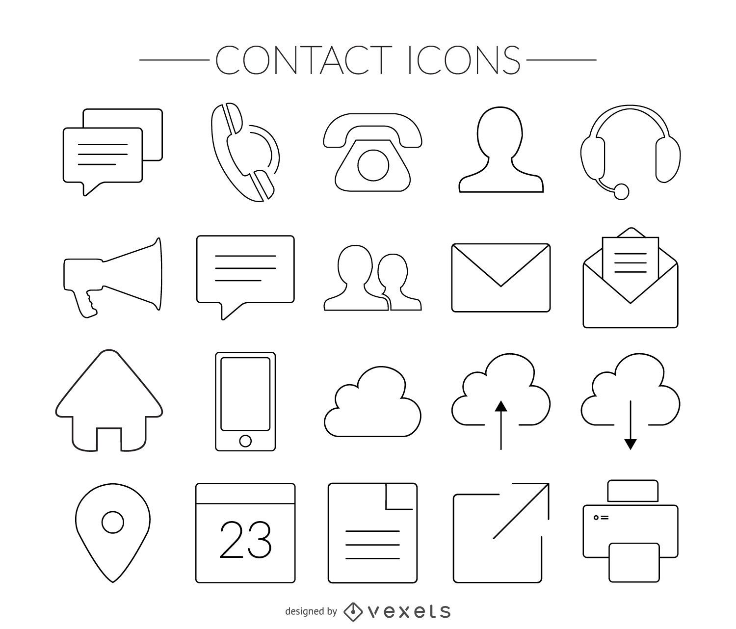 Stroke contact icons set