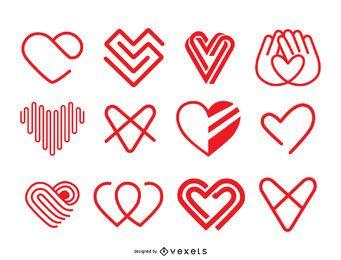 Conjunto de modelo de logotipo de ícone de coração