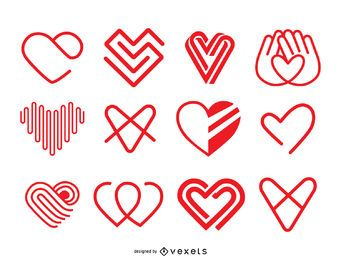 Heart icon logo template set