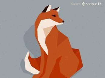 Ilustração de raposa poli baixa