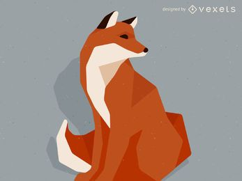 Ilustración de zorro de baja poli