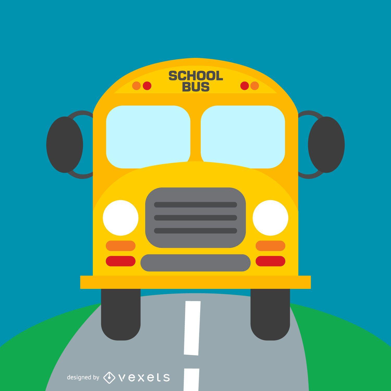 Autobús escolar en la ilustración de la carretera