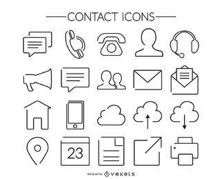 Colección de iconos de contacto de trazo