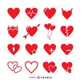 Conjunto de modelo de logotipo de rótulo de coração
