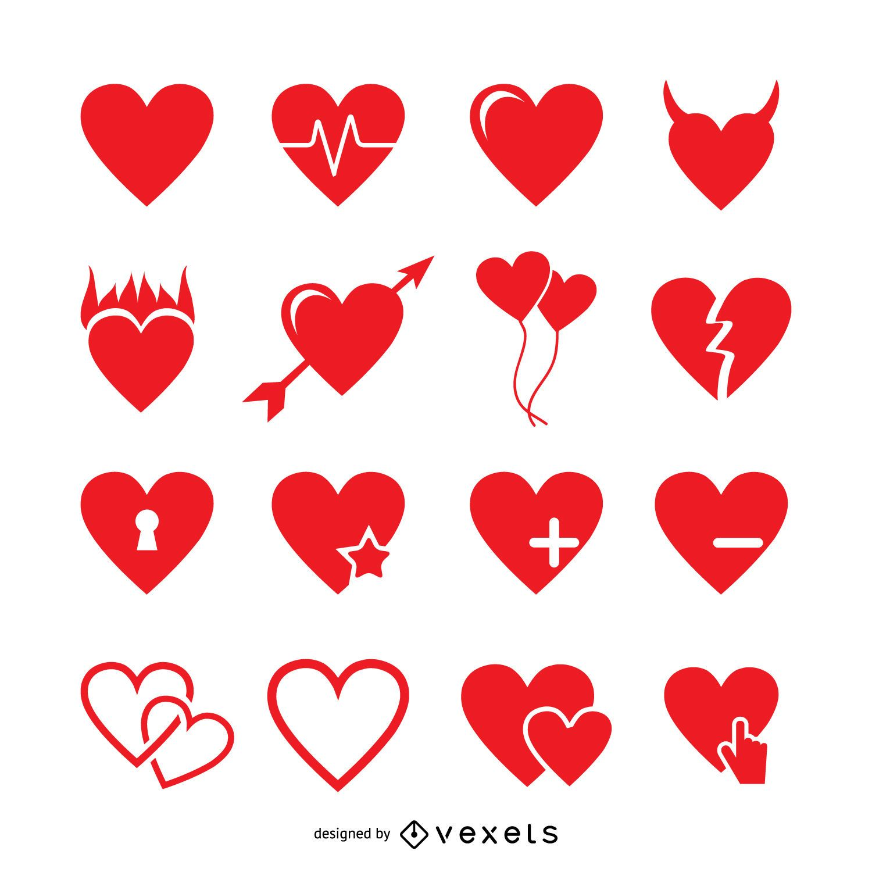 Heart label logo design set